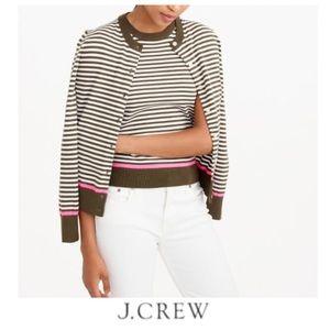 J. Crew Striped Neon Accent Cardigan